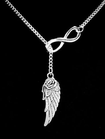 Infinity Guardian Angel Wing In Memory Heaven Remembrance Y Lariat Necklace