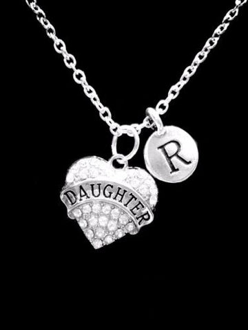 Choose Initial, Daughter Crystal Heart Valentine Gift Charm Necklace