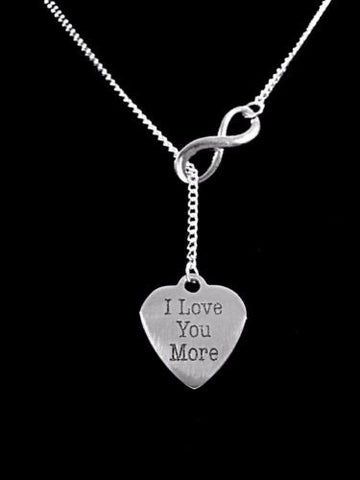 Infinity I Love You More Heart Valentine Gift Wife Lariat Style Necklace