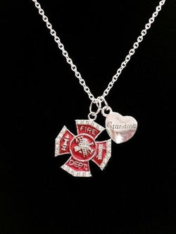 Red Maltese Cross Firefighter Grandma Fireman Firefighters Gift Charm Necklace