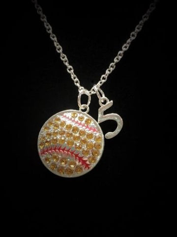 Crystal Softball, Sports, Personalized Number, Charm Necklace