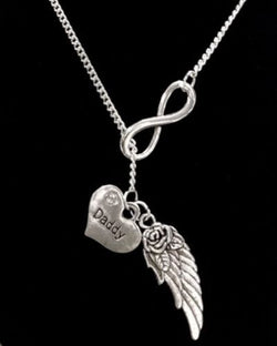 Infinity Guardian Angel Daddy Wing In Memory Heaven Y Lariat Necklace