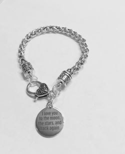 I Love You To The Moon The Stars And Back Gift Mom Wife Daughter Charm Bracelet