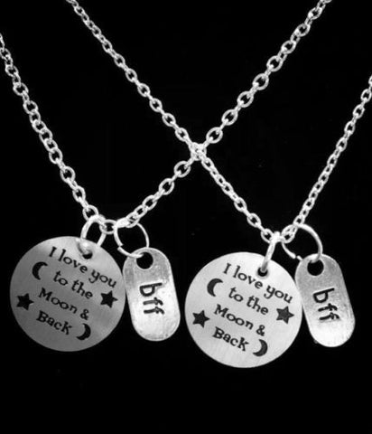 2 Necklaces I Love You To The Moon And Back BFF Best Friends Sister Set