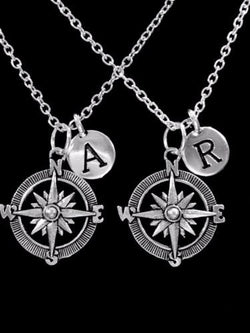 Choose Initial Compass Nautical Long Distance Best Friend Sister Necklace Set