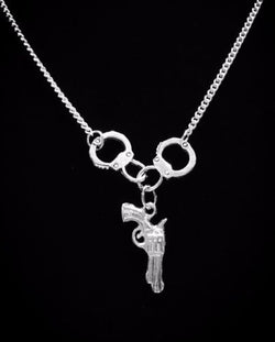 Handcuff Gun Partners In Crime Police Officer Wife Best Friends Necklace