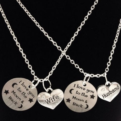 2 Necklaces I Love You To The Moon And Back Husband Wife His Hers Couples