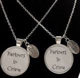 2 Necklaces Sisters Partners In Crime Best Friends Couple's His And Hers Set