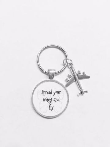 Airplane Spread Your Wings And Fly Travel Graduation Gift Keychain