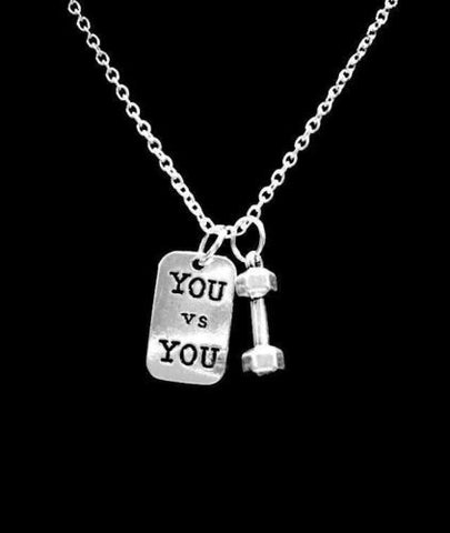 Dumbbell You VS You BarbeIl Inspirational Gift Sports Crossfit Fitness Necklace