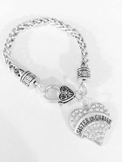 Crystal Sister In Christ Mother's Day Gift For Christian Friends Charm Bracelet