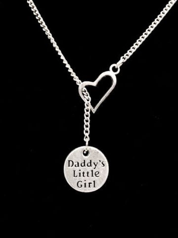 Heart Daddy's Little Girl Daughter Gift Lariat Charm Necklace