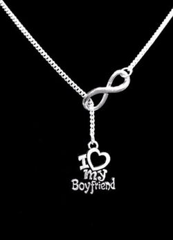 Infnity I Love My Boyfriend Gift Girlfriend Anniversary Lariat Necklace