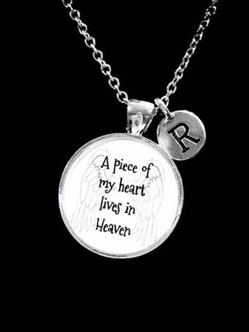 Choose Initial, A Piece Of My Heart Lives In Heaven Angel Memory Gift Necklace