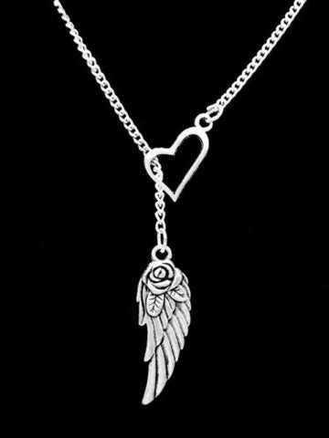Heart Guardian Angel Wing In Memory Heaven Remembrance Y Lariat Necklace