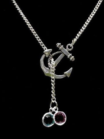 Birthstone Personalize Anchor Mother Gift Valentine Gift Y Lariat Necklace