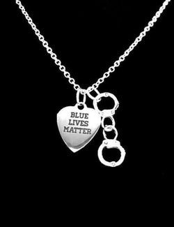 Blue Lives Matter Handcuffs Police Officer Gift Wife Mom Daughter Son Necklace