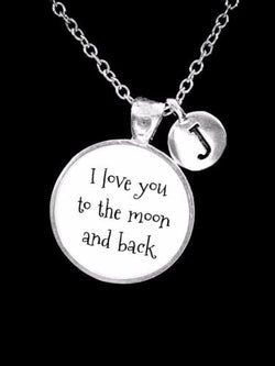 Choose Initial, I Love You To The Moon And Back Best Friend Sister Gift Necklace