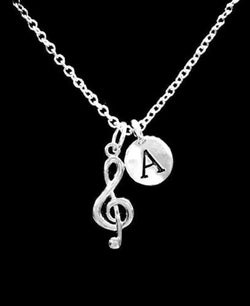 Choose Initial Letter Treble Clef Musical Note Music Band Singer Gift Necklace