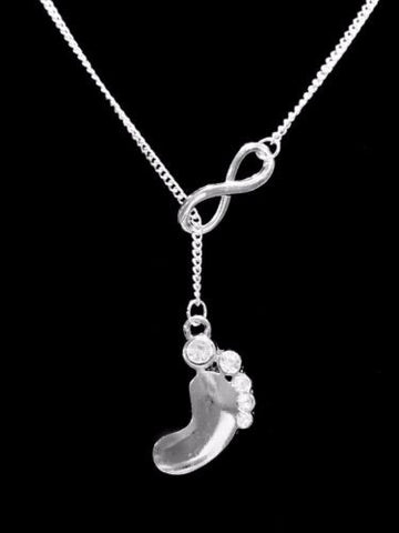 Infinity Crystal Baby Footprints Mother Mother's Day Gift Lariat Necklace