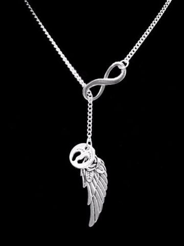 Guardian Angel Baby Footprints Wing In Memory Heaven Infinity Y Lariat Necklace