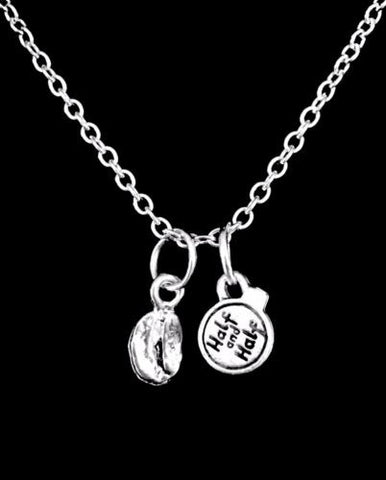 Coffee Bean Half And Half Coffee Lover Gift Friend Sister Mom Charm Necklace