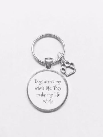 Dogs Make My Life Whole Paw Prints Dog Lover Vet Gift Keychain