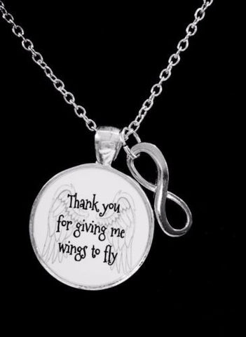 Thank You For Giving Me Wings To Fly Mom Grandma Gift Necklace
