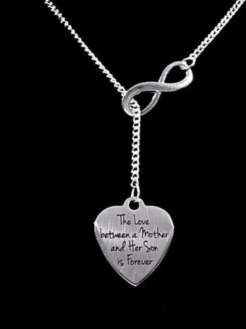 The Love Between A Mother And Her Son Is Forever Mother's Gift Lariat Necklace