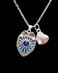 Blue Police Shield Badge Grandma Heart Gift For Officer LEO Charm Necklace