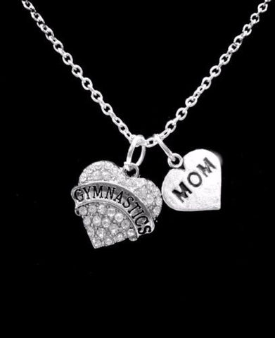 Crystal Gymnastics Heart Mom Sports Charm Necklace