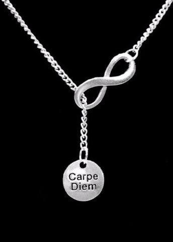 Carpe Diem Sieze The Day Infinity Inspirational Gift Lariat Necklace
