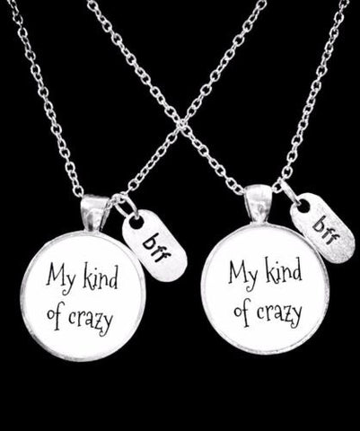 Best Friend My Kind Of Crazy Bff Christmas Gift Necklace Set