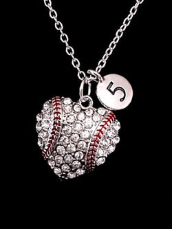 Number Baseball Heart Softball Mom Mother's Day Gift Sports Charm Necklace