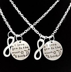 2 Necklaces I Love You To The Moon And Back Best Friends Sisters BFF Gift