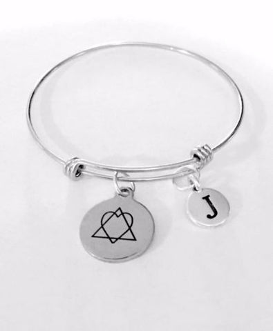 Adoption Initial Heart In Triangle Forever Home Adjustable Bangle Charm Bracelet