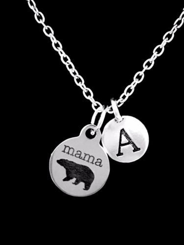 Initial Mama Bear Mom Mother's Day Gift Wife From Kids Necklace