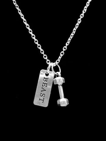 Dumbbell Beast BarbeIl Inspirational Gift Sports Crossfit Fitness Necklace