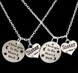 2 Necklaces I Love You To The Moon And Back Love My Sisters Set