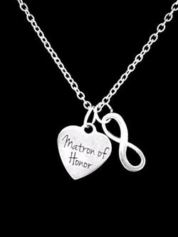 Matron Of Honor Bridal Party Wedding Gift Infinity Charm Necklace
