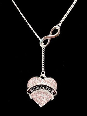 Pink Crystal Survivor Heart Breast Cancer Awareness Infinity Lariat Necklace