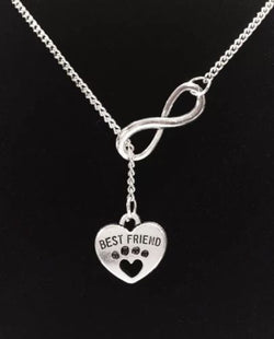 Infinity Paw Print Best Friend Heart Veterinarian Dog Lover Lariat Necklace