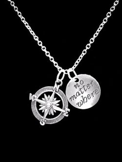 No Matter Where Compass Long Distance Best Friend Sister Mom Gift Charm Necklace