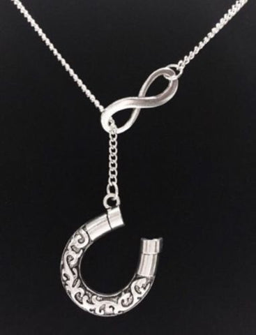 Infinity Horseshoe Good Luck Charm Cowgirl Rodeo Gift Lariat Style Necklace