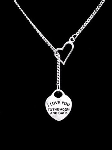 I Love You To The Moon And Back Gift Girlfriend Wife Mom Heart Lariat Necklace