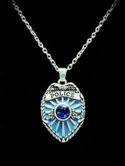 Blue Police Shield Badge Father's Day Gift For Police Officer Charm Necklace