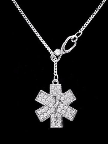 Stethoscope Crystal Star Of Life Paramedic EMT EMS Gift Lariat Style Necklace