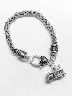 Fire Truck Firefighter Maltese Gift Fireman Wife Daughter Mom Charm Bracelet