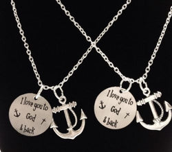 2 Necklaces I Love You To God And Back The Moon And Back Anchor Best Friend Set