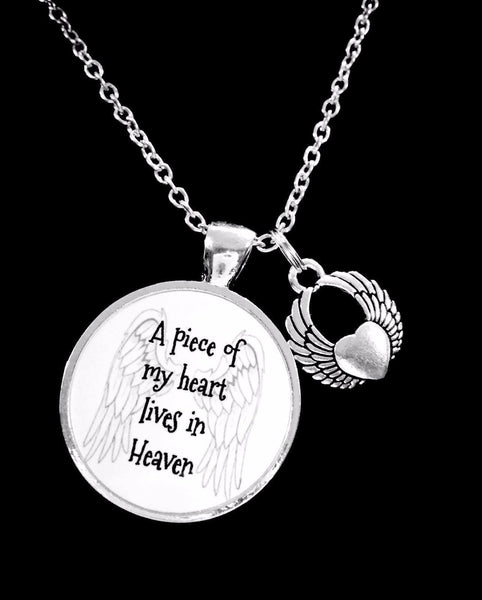 A Piece Of My Heart Lives In Heaven Angel Wing Memorial Necklace